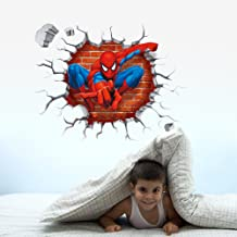 3d Spiderman Through The Wall Stickers Home Decoration Kids Room Decal Movie Cartoon Mural Art