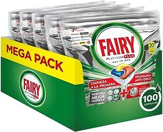 Fairy Platinum Plus Tutto in Uno Detersivo Capsule Lavastoviglie, 100 Cicli (5 x 20 Pastiglie), Maxi Formato, Limone, Bril...