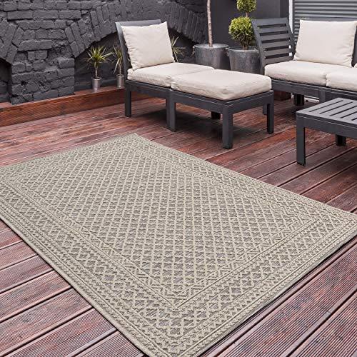 In und Outdoor Teppich in Natur Beige Hell mit 3D Struktur | Innen- und Außenbereich geeignet | MY3430 | Boho Shabby Geo Chic Design Terrassen Deko, hochwertiger Sisal Teppich Look | 120x170cm