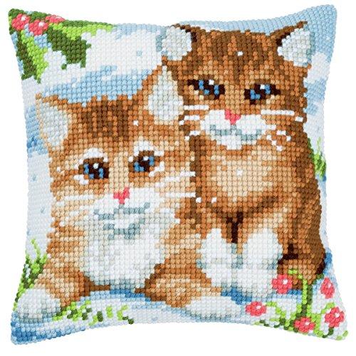 Vervaco katten in sneeuw kruissteekkussen/borduurkussen voorbedrukt, katoen, meerkleurig, 40 x 40 x 0,3 cm