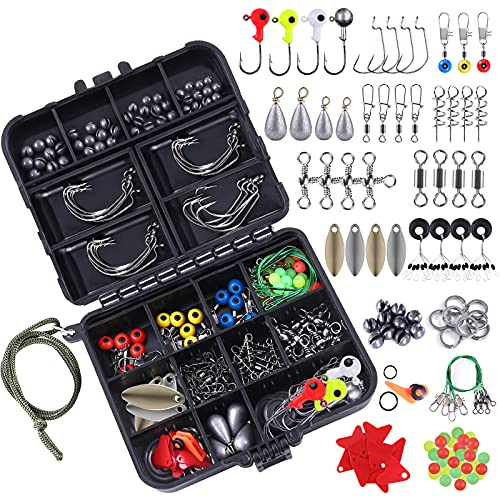 TOPFORT 187/230pcs Fishing Accessories Kit, Including Jig Hooks, Bullet Bass Casting Sinker Weights, Fishing Swivels Snaps, Sinker Slides, Fishing Set with Tackle Box… (187pcs Fishing Accessories kit)