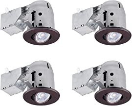 Globe Electric 90964 Recessed Lighting, 4 Pack, Oil Rubbed Bronze Round Swivel