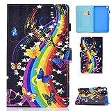 Auslbin - Funda para Samsung Galaxy Tab A7 10.4' 2020 SM-T500/T505/T507(función Atril,Auto-Reposo/Activación,Card Slot,Cuero PU)-Mariposa Musical