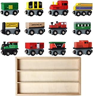 heaven2017 Wooden Train Set Toy 12 Carriages Magnetic Train Car Toys for Kids