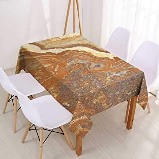 Wendell Joshua Square Tablecloth Marble,Unique Earthen Toned Mother Earth Natural Travertine Structures Display,Cinnamon Earth Yellow,for Events Party Restaurant Dining Table Cover 52
