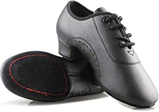 Dance Shoes,Leather lace-up Low Heels Ballroom Dancing Shoes for Latin Tango Salsa Rumba Dance Performence Shoes for Boy