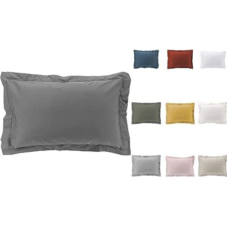 Taies d'oreiller x2 Percale 100% Coton 7 Coloris Différents - 63 X 63cm / 50 X 70cm (Anthracite, 50x70 cm)