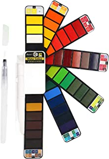 Watercolors Paint Set - 42 Assorted Colors, Professional Artist Travel Mini Portable Pocket Watercolor Field Sketch Set with 1 Water Brushes, Christmas Gift for Artist, Kids & Adults Outdoor Painting