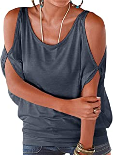 YOINS Women Summer T Shirt Cold Shoulder Short Sleeves Round Neck Loose Fit Tie up Back Tee Pullover Casual Top Multi Color