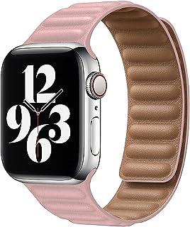 Compatibel voor Apple Watch Band 45mm 44mm 42mm 41mm 40mm 38mm lederen lus, sterke magnetische lederen band voor iWatch Se...