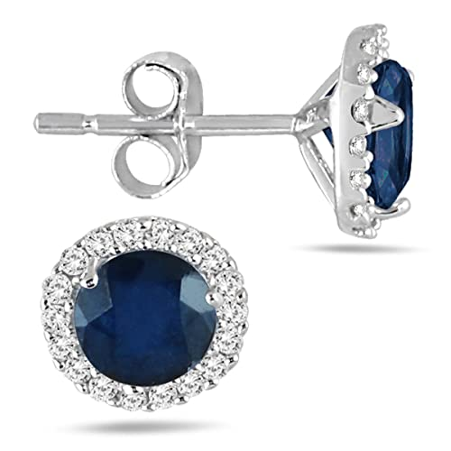 a401f64e3 Sapphire and Diamond Stud Earrings in 14K White Gold