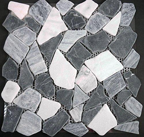 Bruchmosaik Marmor schwarz grau mix 30,5x30,5x0,8cm 1 Tafel Mosako Naturstein