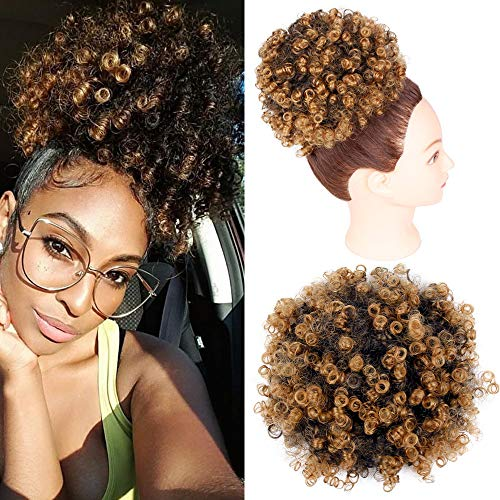 Afro Puff Drawstring Ponytail African American Synthetic Ponytail Hairpieces Short Kinky Curcly Hair Puff for Women(T/27#)