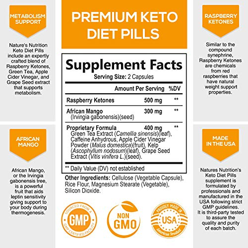 Keto Diet Pills - Keto Advanced Weight Support 1200mg - Utilize Fat Instead of Carbs, Ketosis & Ketogenic Supplement with Raspberry Ketones, Mango & Apple Cider Vinegar - 180 Capsules 5
