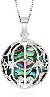 925 Sterling Silver Abalone Shell Chalice Well Peace Garden Pendant Necklace, 18