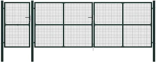 vidaXL Poort 500x150 cm Staal Groen Schutting Toegangshek Tuinhek Tuinpoort