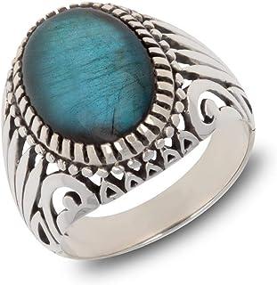 Aden's Jewels Bague Homme | Pierre de Labradorite | Forme Ovale | Couleur Bleue | Bijoux de Créateur | Bagues Biker | Effe...