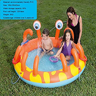 LCYCN Inflatable Pool Float,Round Inflatable Pools for Kids- Can Spray Water Children Pool Rafts Inflatable Ride-ons Water Toy,180x152x66cm