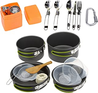 JACKBAGGIO New Outdoor Camping Pan Hiking Cookware Backpacking Camping Cookware Mess Kit Cooking Picnic Bowl Pot Pan Sets w/Tableware Mountaineering Buckle for 2-3 People