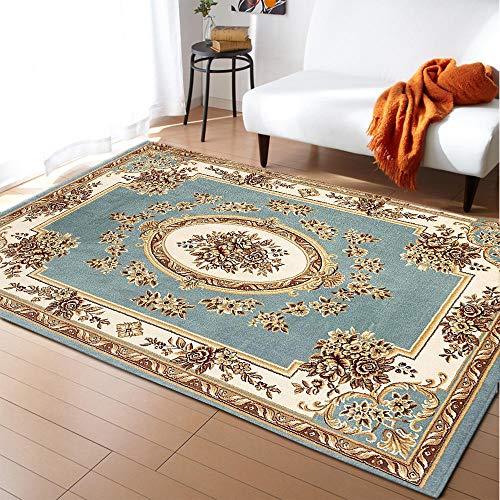 CQIIKJ Alfombra Estampada Flor étnica Azul Caqui marrón Alfombra Antideslizante Alfombra Lavable 60 x 90 cm para la Entrada de casa, baño o Dormitorio Lavandería