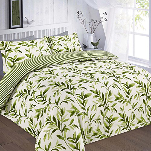 Artistic Fashionista New Luxurious Quality & Modern ELLIE Design Duvet/Quilt Cover Set With Pillowcases (Green, Single)