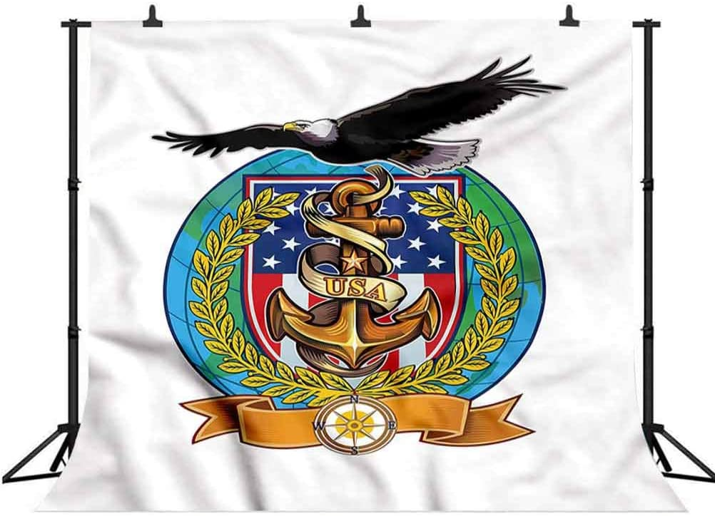 8x8FT Vinyl Photo Backdrops,US Navy,Flying Bald Eagle Anchor Photo Background for Photo Booth Studio Props
