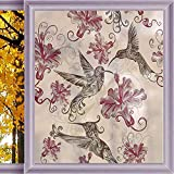 Bathroom Window Privacy Film Hummingbirds Decorations Stained Glass Window Film Privacy Frosted Film Static Cling Glass 23.6 x 35.4 in