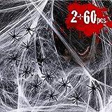 Joyjoz Halloween Deko Spinnennetz 2000sqft mit 60 Spinnen 2-Set Cobweb Halloween Requisiten Dekoration für Party Garten Haustür Drinnen draußen