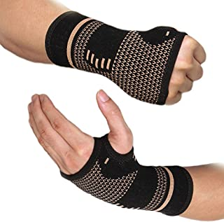 FITTOO Wrist Support Sleeves,Copper Infused Wrist Compression Sleeve Brace for Carpal Tunnel, RSI, Tendonitis, Arthritis, ...