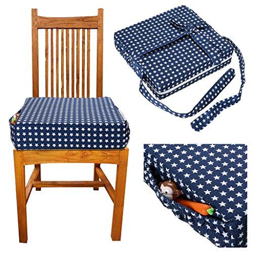 Sumnacon 食事 クッション こども 座布団 椅子用 クッション こども 高さ調節 チェアクッション 子供 ひも付き 様ざまの図案 (ブルー)