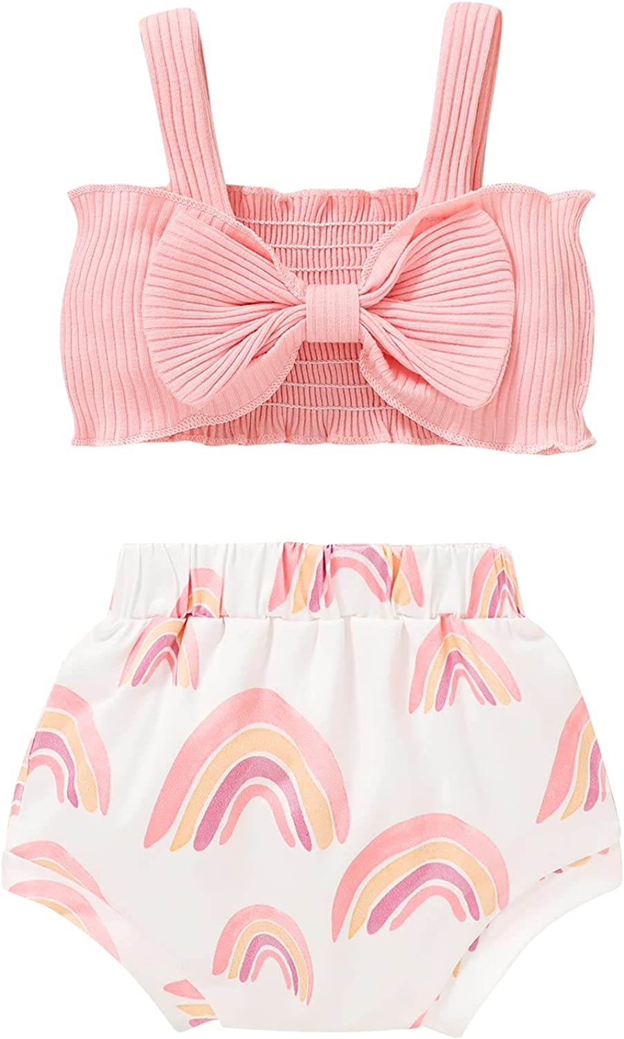 Newborn Baby Girls Clothes Sleeveless Crop Top Halter Bowknot Top and Rainbow Shorts Pants Cute Girl Summer Outfits Set