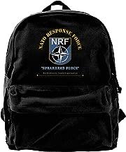 Nato Response Force W Txt Vintage Unisex Canvas Shoulder Bag Travel Backpack School Bags
