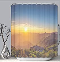BEICICI Color Shower Curtain Liner Anti-Mildew Antibacterial Beautiful Sunset Over The Mountain Custom Shower Curtain Bathtub Bathroom Accessories 72W×78Linch