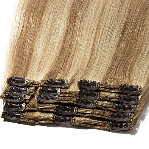 Clip in Extensions Set 100% Remy Echthaar 8 Teilig Haarverlängerung dick Dopplet Tressen Clip-In Hair Extension (35cm-120g,#12/613 Light Golden Brown/Bleach Blonde)