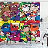 N\A Abstrakter Duschvorhang, abstrakte Frauengesichtsillustration hinter menschlichem Gesichtsmerkmal im Buntglasstil, Badezimmerdekor aus Stoffgewebe mit Haken, Rot-Orange