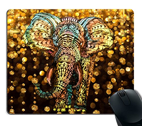Smooffly Gaming Mouse Pad Custom,Elephant Mouse pad Aztec Gold Elephant with Gold Rain Shine Flicker Glow Jewelry Stones Light Gaming Mouse pad