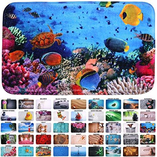 Sanilo Badteppich I viele schöne Badematten zur Auswahl I Badvorleger sehr weich und rutschfest I waschbar und schnelltrocknend (50 x 80 cm, Ocean)