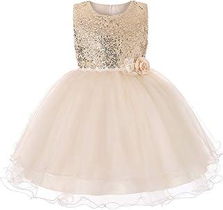 41fd6664428f7 IWEMEK Fleur Filles Paillettes Tulle Robe de Princesse Demoiselle d honneur Enfants  Robe de Anniversaire