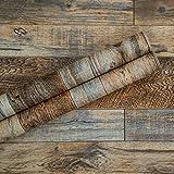 17.71''×118'' Distressed Wood Plank Wallpaper Peel and Stick Rustic Wood Grain Pattern Wall Paper Removable Self Adhesive Brown Shiplap Vinyl Film Decorative Wooden Look