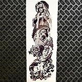 HXMAN 3 Pcs Impermeable Grande Muerte Cráneo Robot Brazo Vieja Escuela Temporal Tatuaje Pegatinas Gqb-024 Hombres Mujeres Cuerpo Arte Hombro Brazo Banda Tatuaje GDZ120