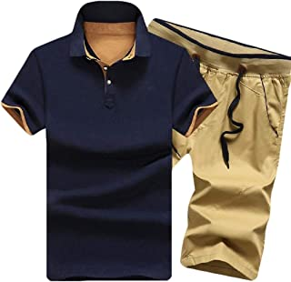 Men's Casual 2 Piece Tracksuit T-Shirts and Shorts Running Jogging Athletic Sports Suit Set