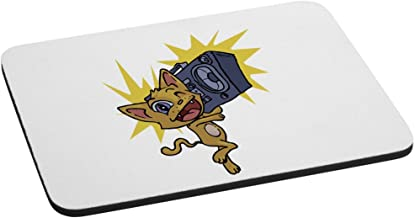 Happy Excitable Cat with a Boom Box Computer Mouse Pad