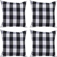 Awroutdoor Farmhouse Buffalo Check Plaid Throw Pillow Cover 18x18 Inches Set of 4 Black and White Cotton Linen Cushion Cover for Home Sofa Bedding Couch Decorative for Modern Simple Style Decor
