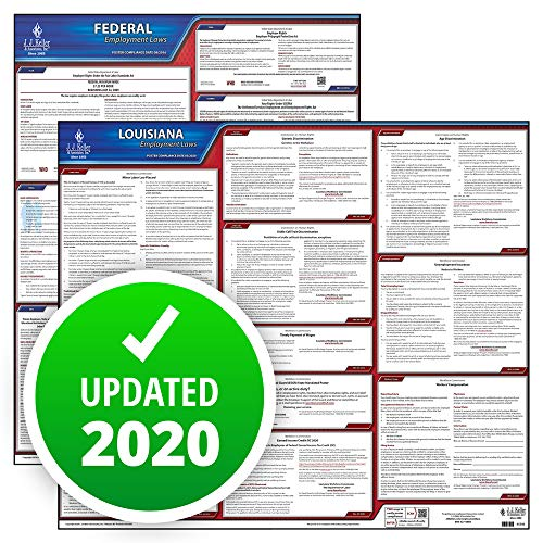 2020 Louisiana State and Federal Labor Law Poster Set (English, LA State) - OSHA Compliant Laminated Posters - Includes FFCRA Poster