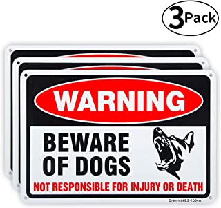 3 Pack Beware of Dog Sign, 10