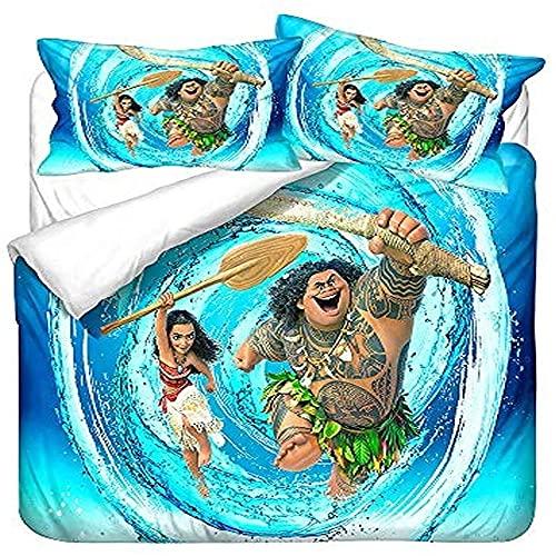 AZJMPKS Maui - Juego de ropa de cama, funda nórdica de microfibra, juego de 3 piezas, 1 funda nórdica y 2 fundas de almohada, regalos para niños (A3, 135 x 200 cm + 75 x 50 cm x 1)