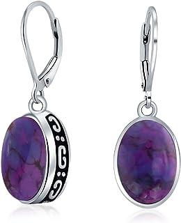 Sponsored Ad - Boho Bali Indonesian Style Oval Leverback Drop Dangle Earrings For Women 925 Sterling Silver Semi Precious ...
