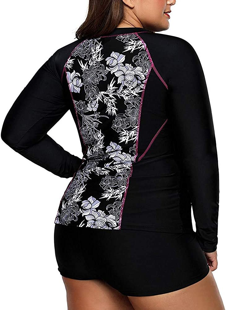 LALAGEN Women's Long Sleeve Sun Protection Rashguard Swimwear Athletic Tankini