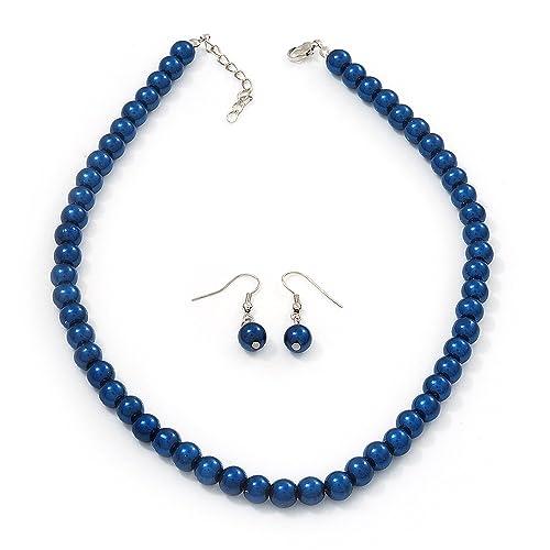 Fab Blue Wooden Short Necklace and Bracelet Set BOXED