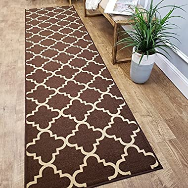 CUSTOM CUT 22-inch Wide by 8-feet Long Runner, Brown Moroccan Trellis Non Slip, Non-Skid, Rubber Backed Stair, Hallway, Kitchen, Carpet Runner Rug - Choose your Width by Length